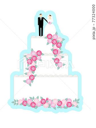 新郎新婦の乗ったウェディングケーキ ウェディング関連小物 単品イラスト 77324000