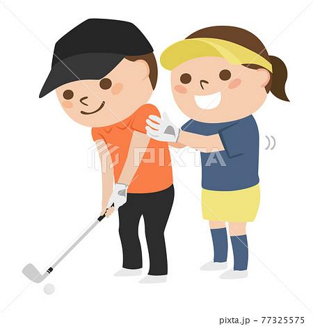 ゴルフフのイラスト。男性にスイングを教えてる女性ゴルファー。 77325575