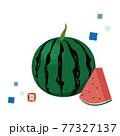 スイカのイラストと「夏」はんこ 77327137
