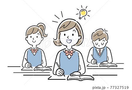 ベクターイラスト素材:授業内容が理解できる女子学生 77327519