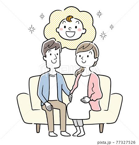 ベクターイラスト素材:ソファーに座る妊婦の妻と夫、夫婦 77327526