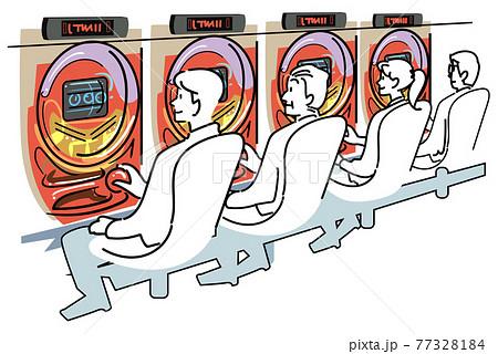 パチスロ台で並んで遊ぶ人たち 77328184