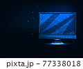 Futuristic glowing low polygonal computer display isolated on dark blue 77338018