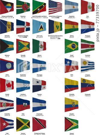 アメリカ地域の国旗 35種類 77339700