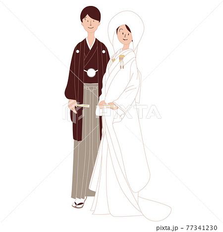 和装の結婚式 日本人男性と日本人女性 77341230