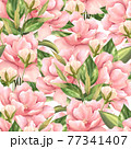 Seamless pattern with pink flowers. Floral background 77341407