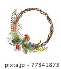 Autumn festive wreath with robin bird. Watercolor illustration. Beautiful round season decorative frame with robin bird, natural fern, forest herbs, berries, autumn leaves. On white background 77341873