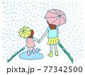 雨が降る道を傘をさして歩く母親と娘(姉妹) 77342500