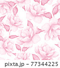 Seamless pattern with flowers. Pink floral pattern in watercolor style, tileable 77344225