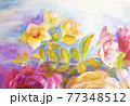 Peonies and roses bouquet. Artistic sketch etude. 77348512
