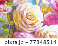 Peonies and roses bouquet. Artistic sketch etude. 77348514