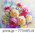 Peonies and roses bouquet. Artistic sketch etude. 77348518