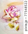Pink rose, Artistic sketch etude. Wet painting 77348522
