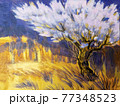 Abstract Graphic art Blooming tree with stylized blossoms 77348523