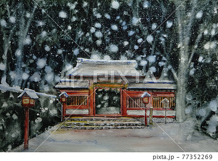 貴船神社奥宮の雪景色 77352269