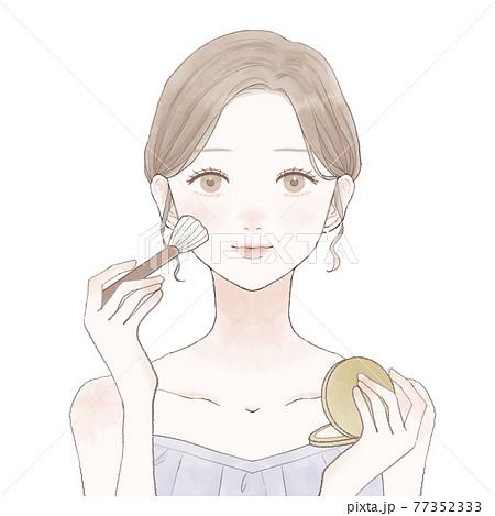 パウダリーファンデーションをメイクブラシで顔に塗る女性 77352333