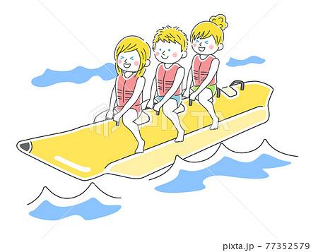 バナナボートに乗っている白人のイラスト 77352579