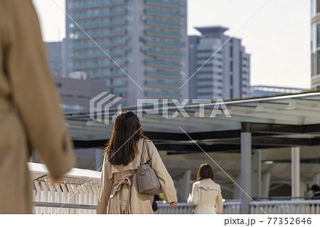 朝の通勤をする歩く女性の後ろ姿 77352646