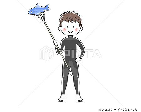 ウエットスーツを着て素潜り漁をする人のイラスト 77352758