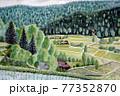 田園風景の日本画 77352870