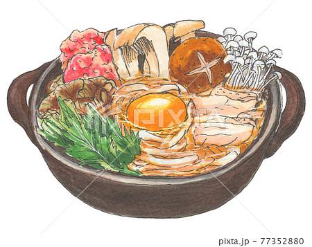 手描き飲食メニュー 鍋焼きうどん 77352880