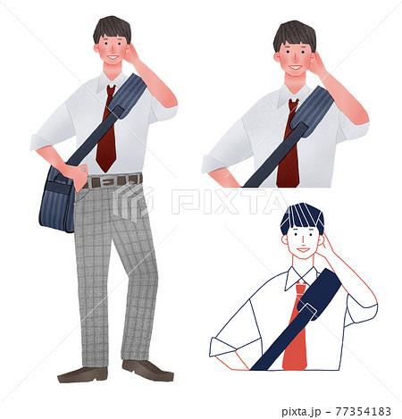 スポーツバックを持つ男子高校生全身手描きイラスト 77354183