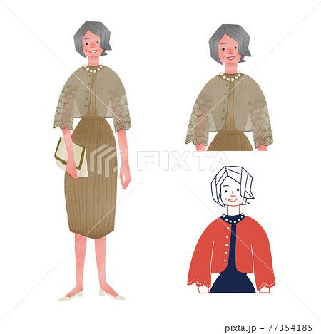 ドレスアップをした高齢者の女性全身手描きイラスト 77354185