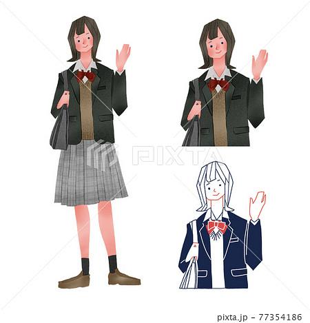 手を振る女子高校生全身手描きイラスト 77354186