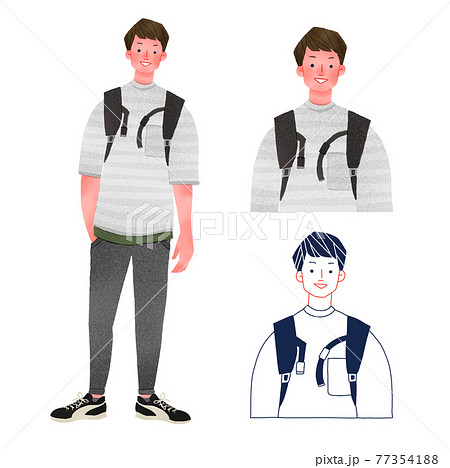 リュックを背負ったカジュアルな男性全身手描きイラスト 77354188