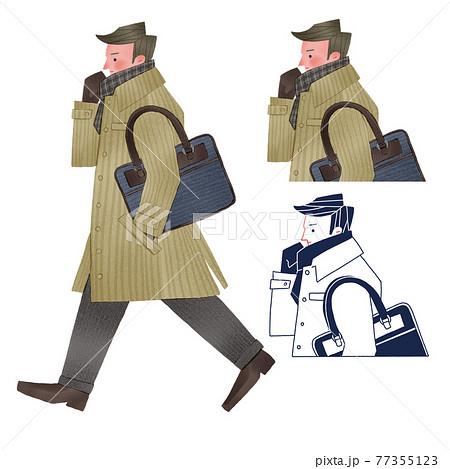 コートを着て通勤する男性全身手描きイラスト 77355123