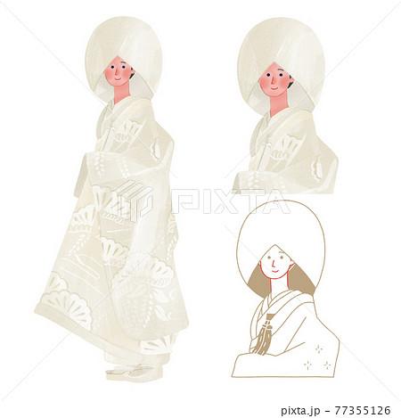 結婚式に白無垢を着た女性全身手描きイラスト 77355126