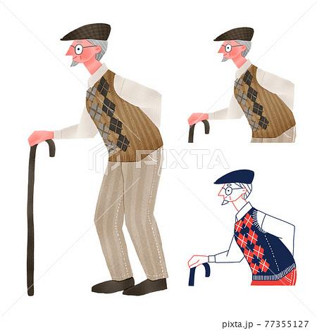 杖をつきながら歩く高齢者の男性全身手描きイラスト 77355127