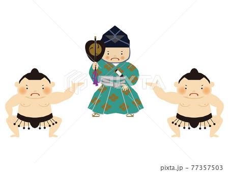 スポーツのイラスト素材。 相撲のクリップアート。 力士と行司。 77357503