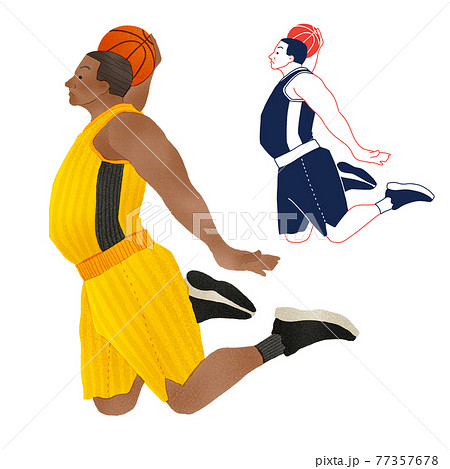 外国人バスケット選手のシュートの瞬間全身手描きイラスト 77357678