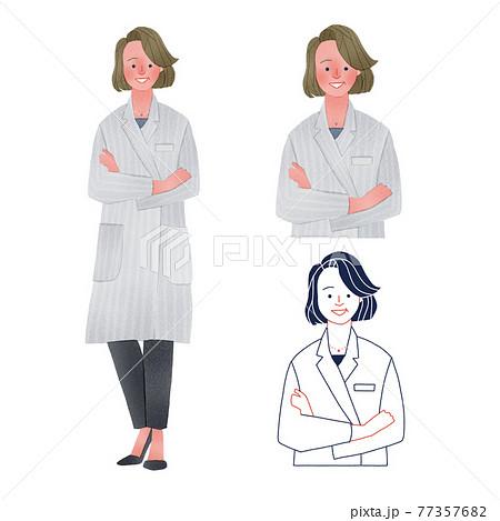 腕を組む中年の女医全身手描きイラスト 77357682