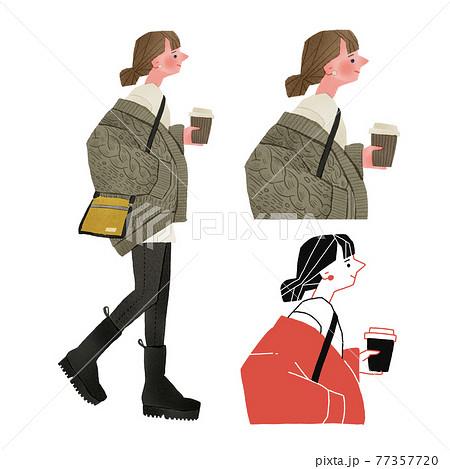コーヒーカップを持って歩くおしゃれで若い女性全身手描きイラスト 77357720