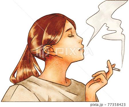 たばこを吸う女性アップ 77358423