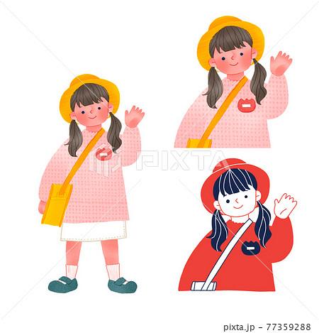 手を振る幼稚園生全身手描きイラスト 77359288