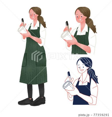 カフェでカップに注文内容を書き入れる女性店員全身手描きイラスト 77359291
