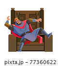 King laughing on the throne. Cartoon king character, wearing crown and mantle, cartoon vector illustration isolated in white background 77360622