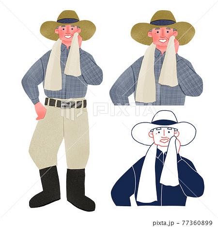 農家で汗を流す男性人物全身手描きイラスト 77360899
