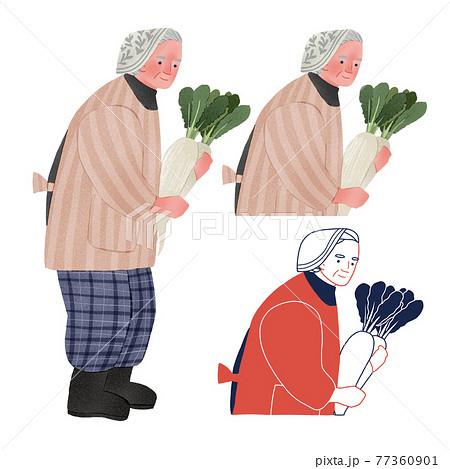 畑仕事をする田舎のおばあちゃん人物全身手描きイラスト 77360901