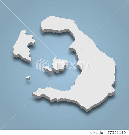 3d isometric map of Santorini is an island in Greece 77361159