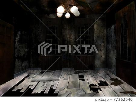 廃墟の荒れた室内のイラスト 77362640