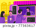 illustration of situation people buy coffee at food and drink truck on the street.  77363617
