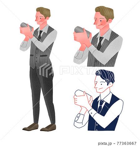 カクテルを作るバーテンダーの男性人物全身手描きイラスト 77363667