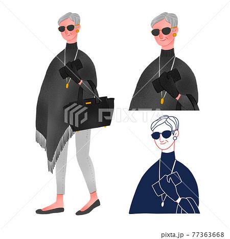 セレブな高齢の女性人物全身手描きイラスト 77363668