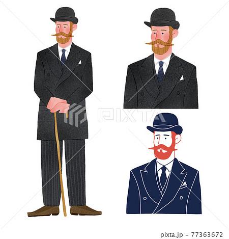 レトロおしゃれなファッションの男性人物全身手描きイラスト 77363672
