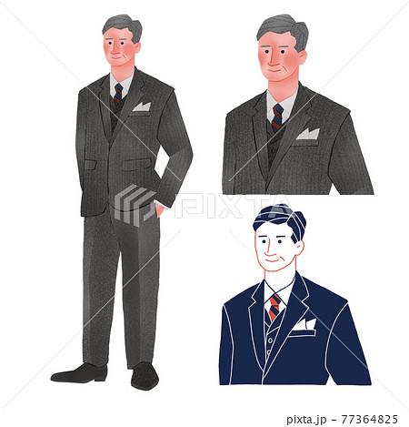 ハンカチーフ スーツを着た男性人物全身手描きイラスト 77364825