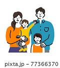 夫婦と子供2人のファミリー 77366370